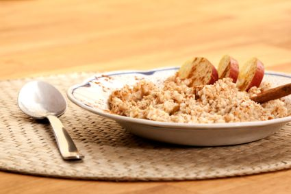 Apples, cinnamon and nutmeg make this oatmeal a perfect start to Thanksgiving Day.