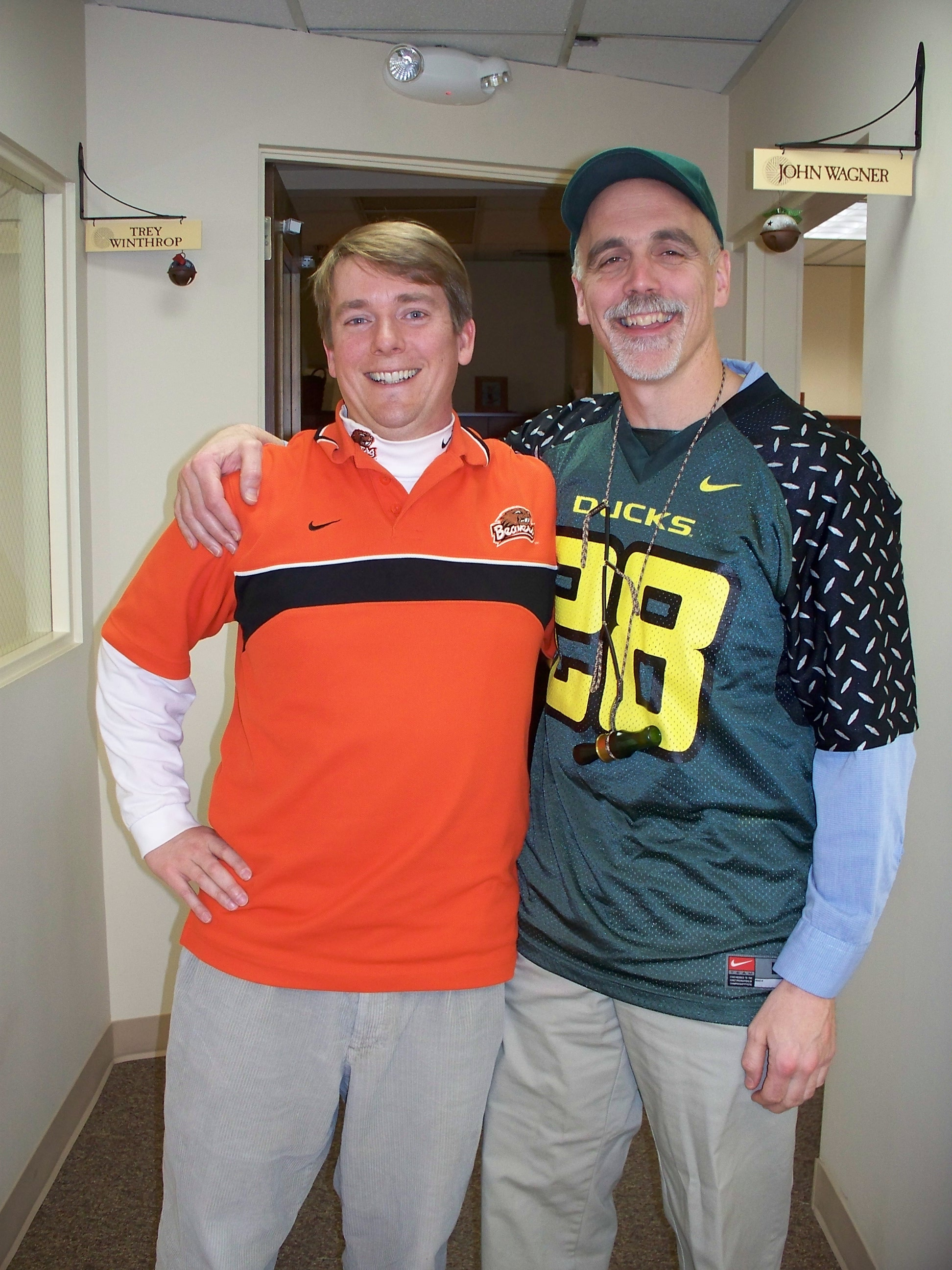 Trey and Dave may be on the same cyclocross team, but they have different tastes when it comes to football champs.