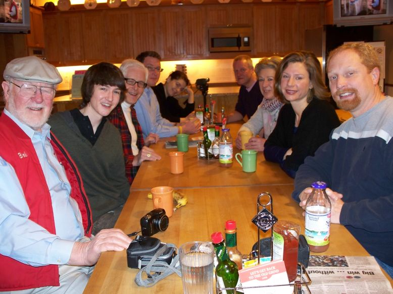 From L to R: Bob, Fergus, Dennis, Matt, Francesca, James, Linda, and Bob's grandchildren Sarah and Chad.