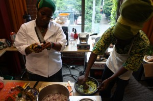 Qausu prepares her winning dishes