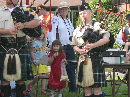 Popcorn and bagpipes.
