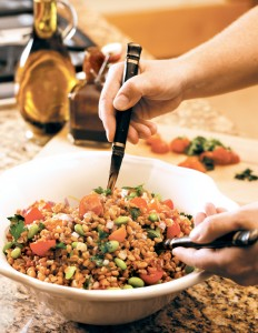 Triticale and Edamame Salad is a great variation on ordinary wheat berry salad.