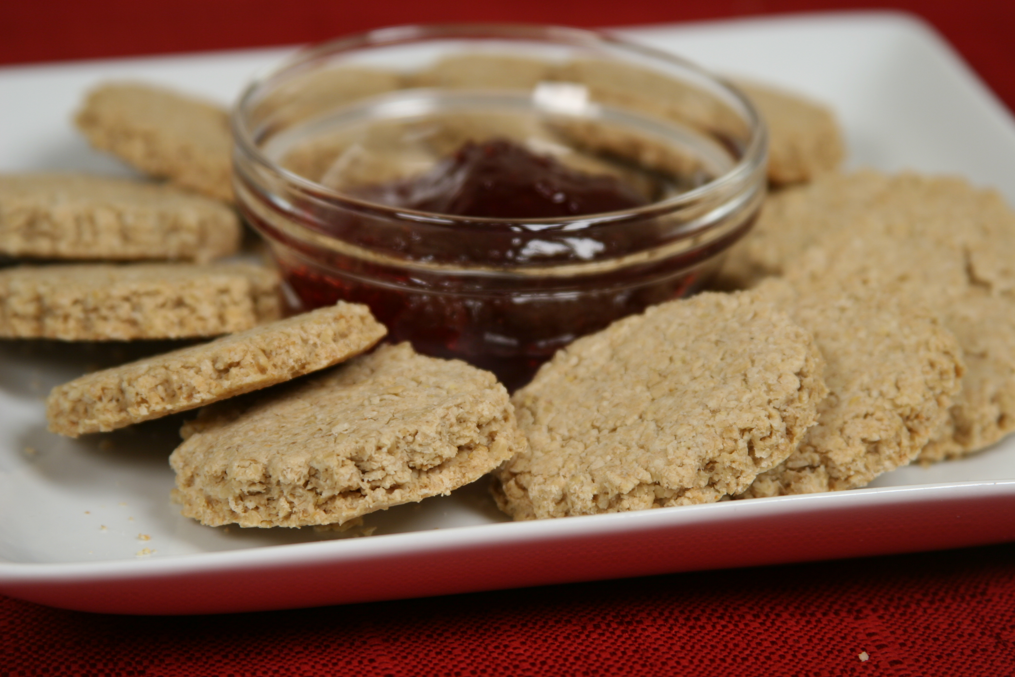 Scottish Oatcakes are a healthy alternative to crackers for hors d'oeuvres.