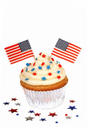 White cupcakes are easy to transform into patriotic masterpieces.