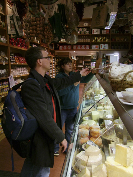 Matt and Cassidy taste cheese at Valvona & Crolla