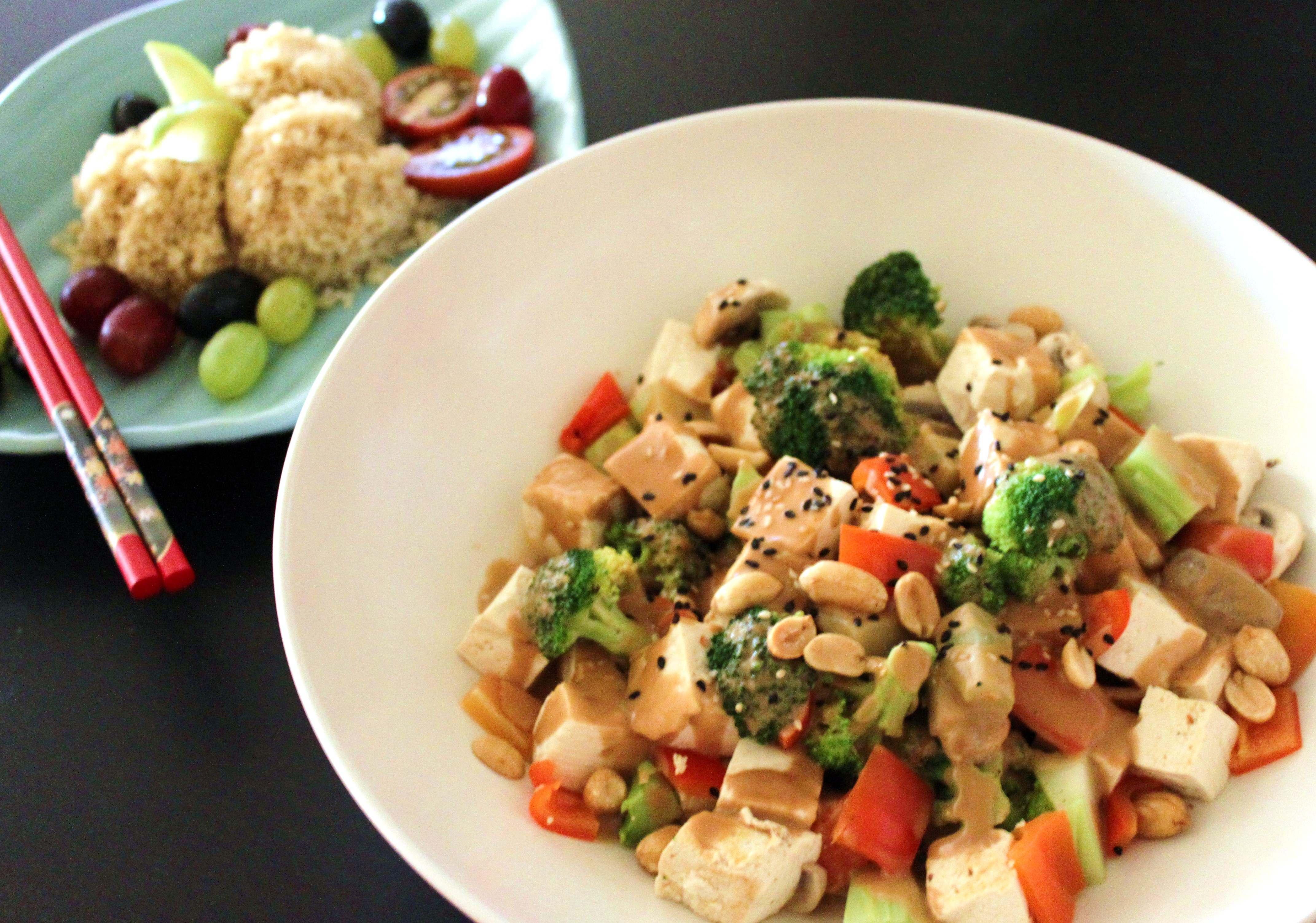 Peanut Sauce Vegetable Stir Fry with Tofu