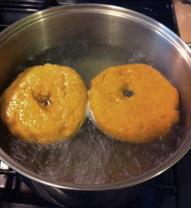 Boiling the bagels is easy!