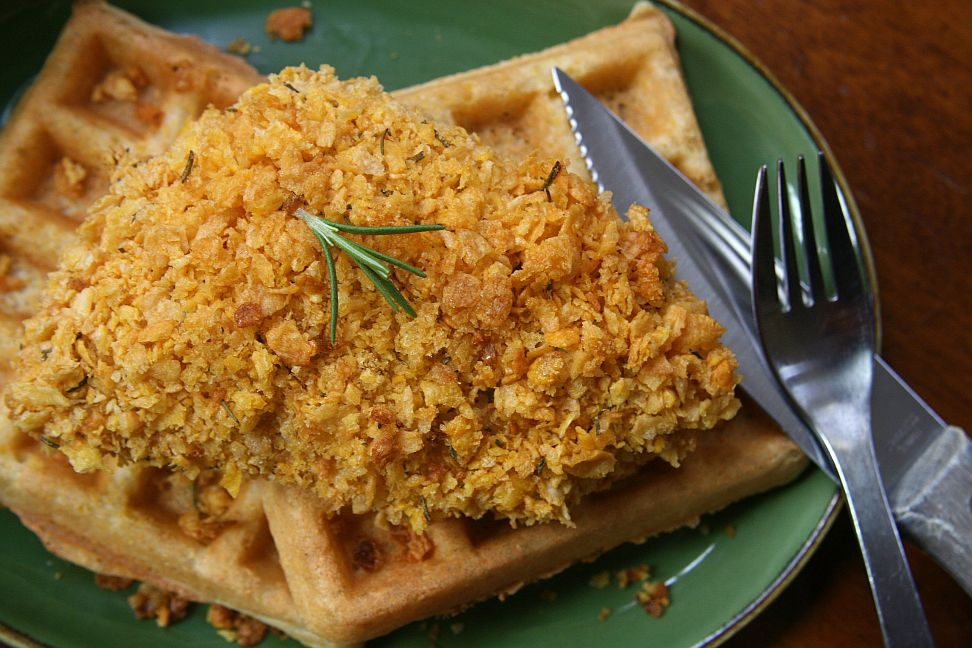 Cornbread Waffles with Cornflake Chicken