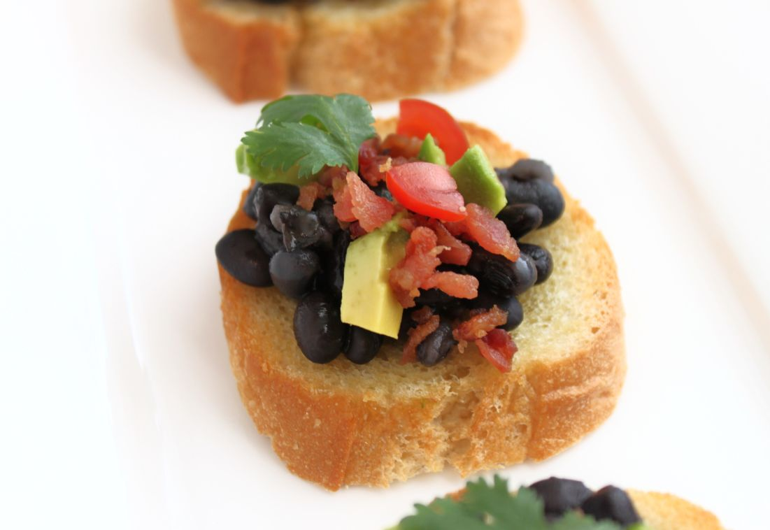 Created by Diane: Black Bean and Bacon Crostini