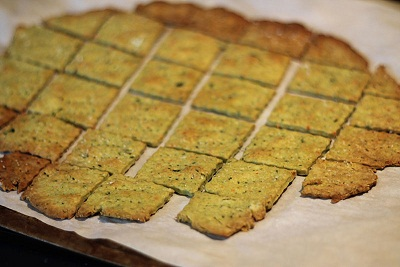 Pea, Parmesan & Rosemary Crackers