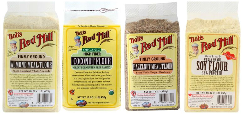 Bob's Red Mill Low Carb Flours: Almond Meal, Coconut Flour, Hazelnut Meal, Soy Flour