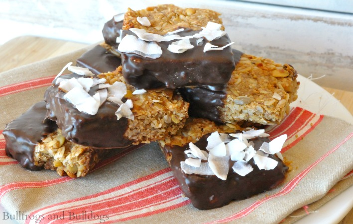 Dark Chocolate Dipped Peanut Butter Muesli Bars:: Amanda Moore, Bullfrogs & Bulldogs