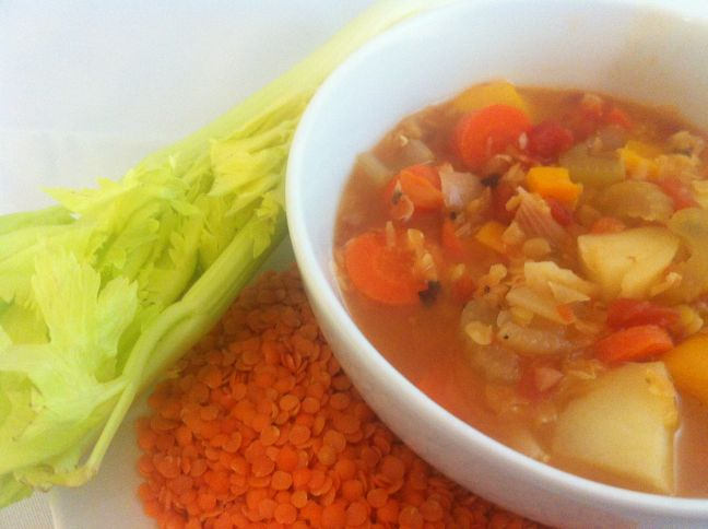 Red Lentil Veg Soup