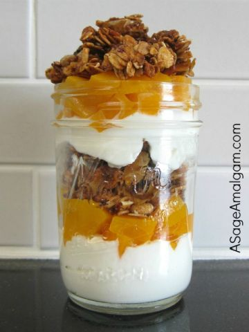 Five-Spice Muesli Granola and Peach-Greek Yogurt Parfaits