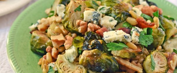 Warm Kamut Berry Salad with Bacon Brussels Sprouts and Gorgonzola-1
