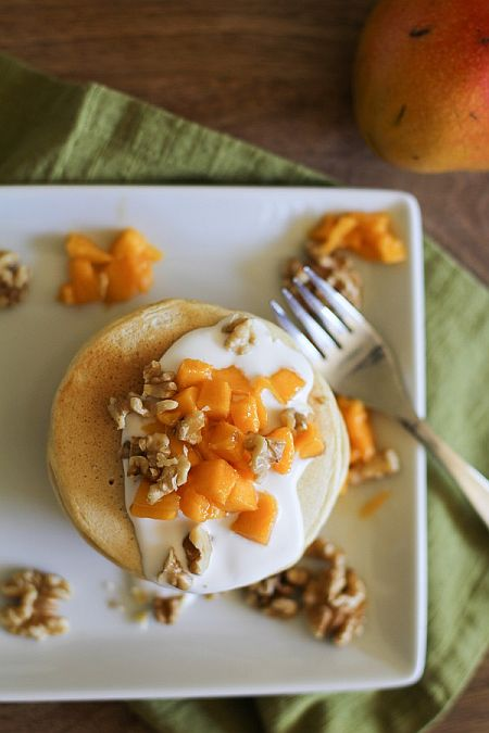 Pancakes with Coconut Milk, Mango, Walnut