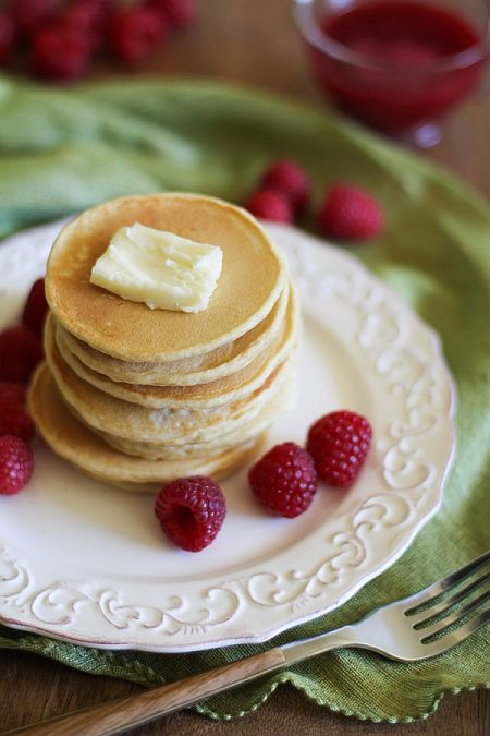 Pancakes with Raspberry Syrup