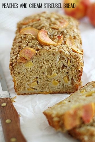 Peaches & Cream Streusel Bread from Girl Versus Dough