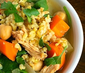 Middle Eastern Chicken Soup with Freekeh - The Lemon Bowl 2nd