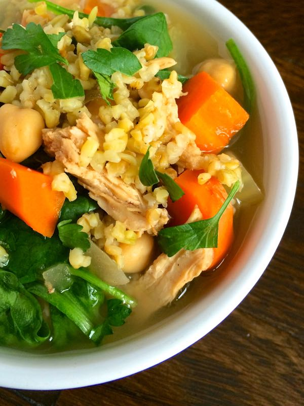 Middle Eastern Chicken Soup with Freekeh - The Lemon Bowl