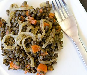 Vegan warm French Green Lentils make a quick and easy weeknight meal. Perfect for meatless mondays and suitable for a gluten free diet.  #bobsredmill