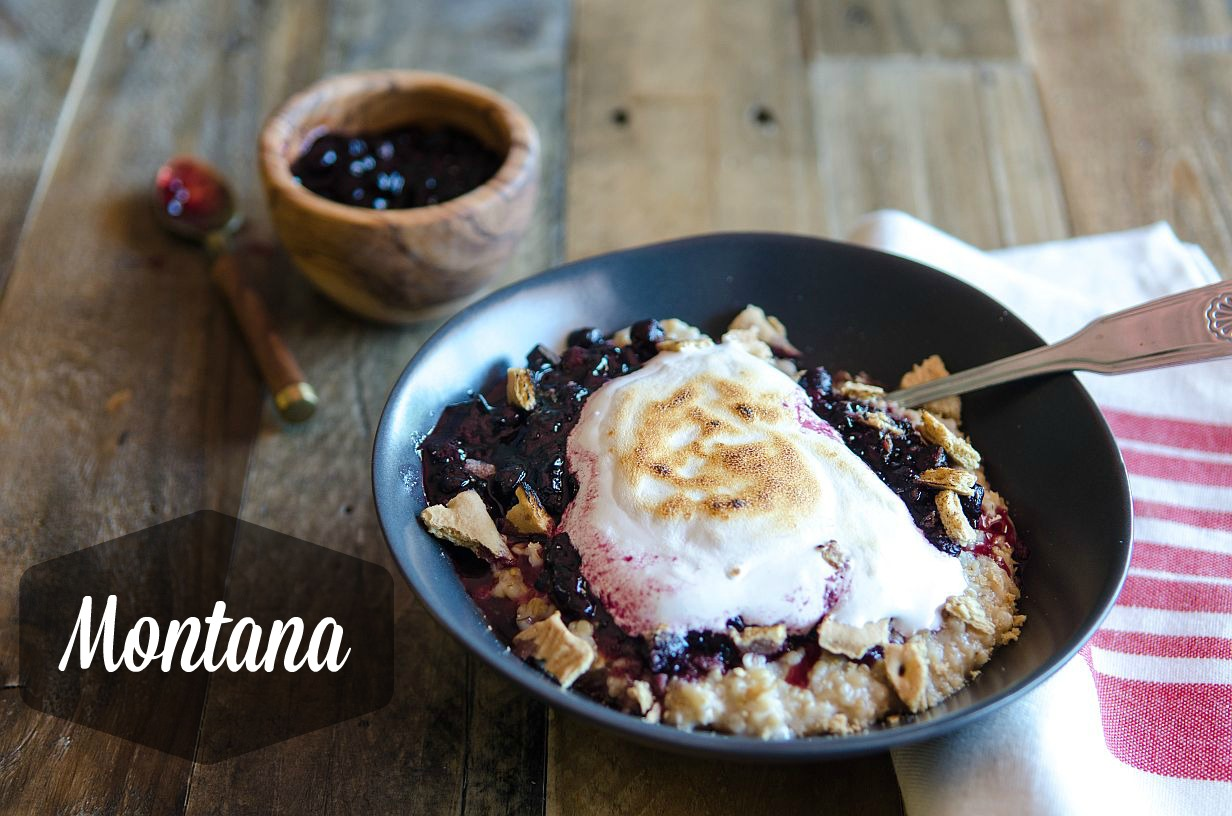 50 States of Oatmeal: Montana: Huckleberry compote, graham cracker chunks and topped with marshmallow cream (chocolate is optional) // Bob's Red Mill