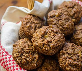With shredded carrots, coconut, and pineapple, these Morning Glory Muffins are healthy without being bland and boring. They make a great breakfast option or on-the-go snack. // Bob's Red Mill