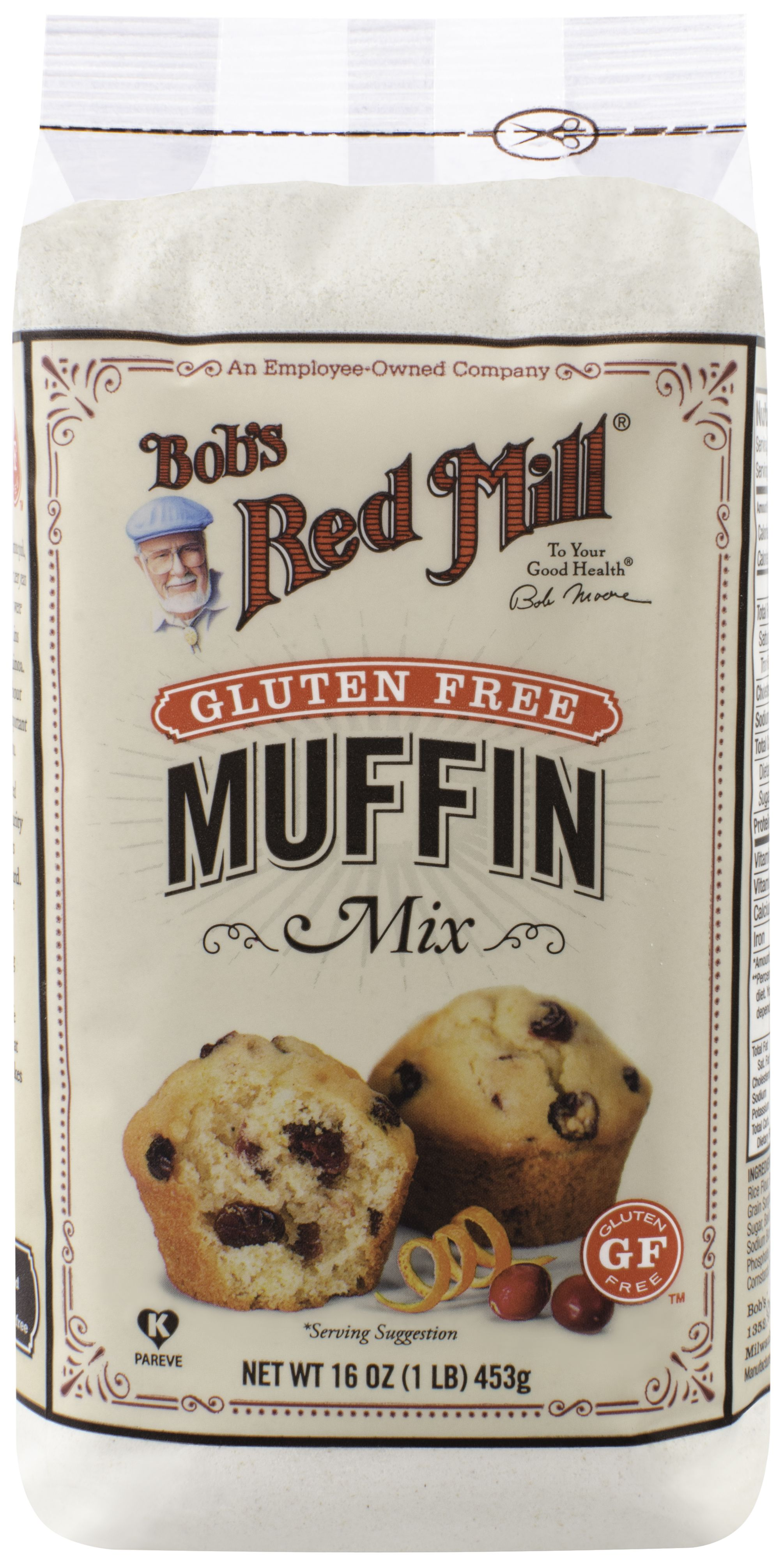 "With Bob's Red Mill Gluten Free Muffin Mix, making scrumptious gluten free muffins at home is as easy as 1, 2, 3! Just combine the mix with a few simple ingredients, add your favorite ""mix-ins"" (fruit, nuts or chocolate), and bake. It's never been easier to enjoy simple, wholesome gluten free muffins at home. Mixed and Packaged in our Gluten Free Facility, each batch is tested in gluten free laboratory to ensure its gluten free status. Dairy Free"