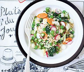 Beautiful millet with fresh vegetables, greens  and a light lemony dressing from Très Green, Très Clean, Très Chic by Rebecca Leffler // gluten free, vegan