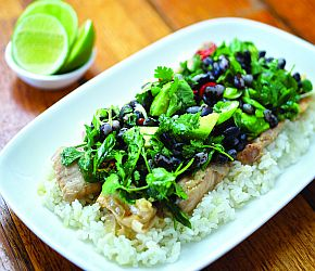 Spicy Coconut Chicken with Orca Bean and Avocado Salad: Pan-Asian flavors of coconut, ginger, scallions, and cilantro are combined with Orca Beans and chicken to create a satisfying dish that is especially delicious served over rice. | Bob's Red Mill