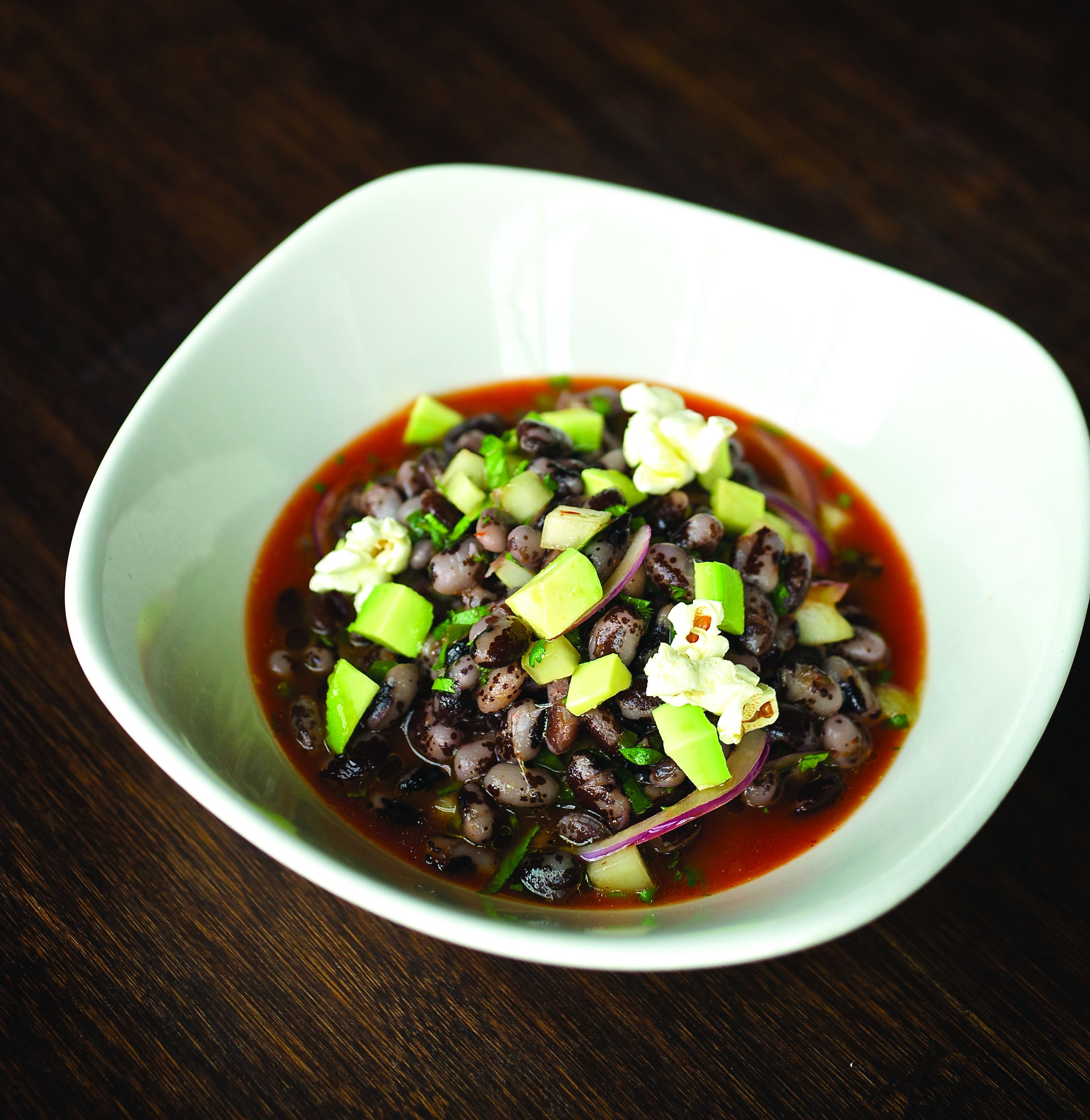 "Orca Bean Ceviche: Classic warm-weather ceviche gets a vegan twist with a tangy ceviche ""juice"" and slight sweetness of the Orca Beans. Serves 4–6 as an appetizer. 