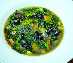 Orca Bean Soup: Velvety roasted squash, spiced Orca Beans and fragrant rosemary lend a comforting earthiness to this cold-weather soup. / Bob's Red Mill