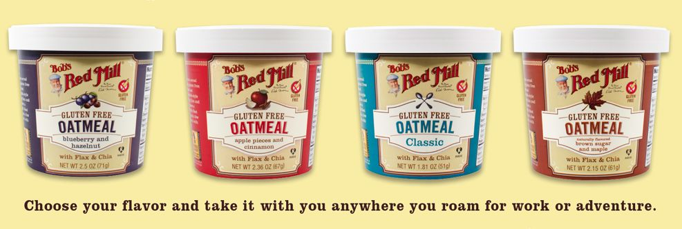 New Bob's Red Mill {Gluten Free} Oatmeal Cups! Three types of oats, chia, flax and salt. Available in four flavors- including classic!