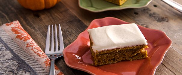 Light and fluffy whole grain Pumpkin Bars with Cream Cheese Frosting perfect for Thanksgiving! // Bob's Red Mill