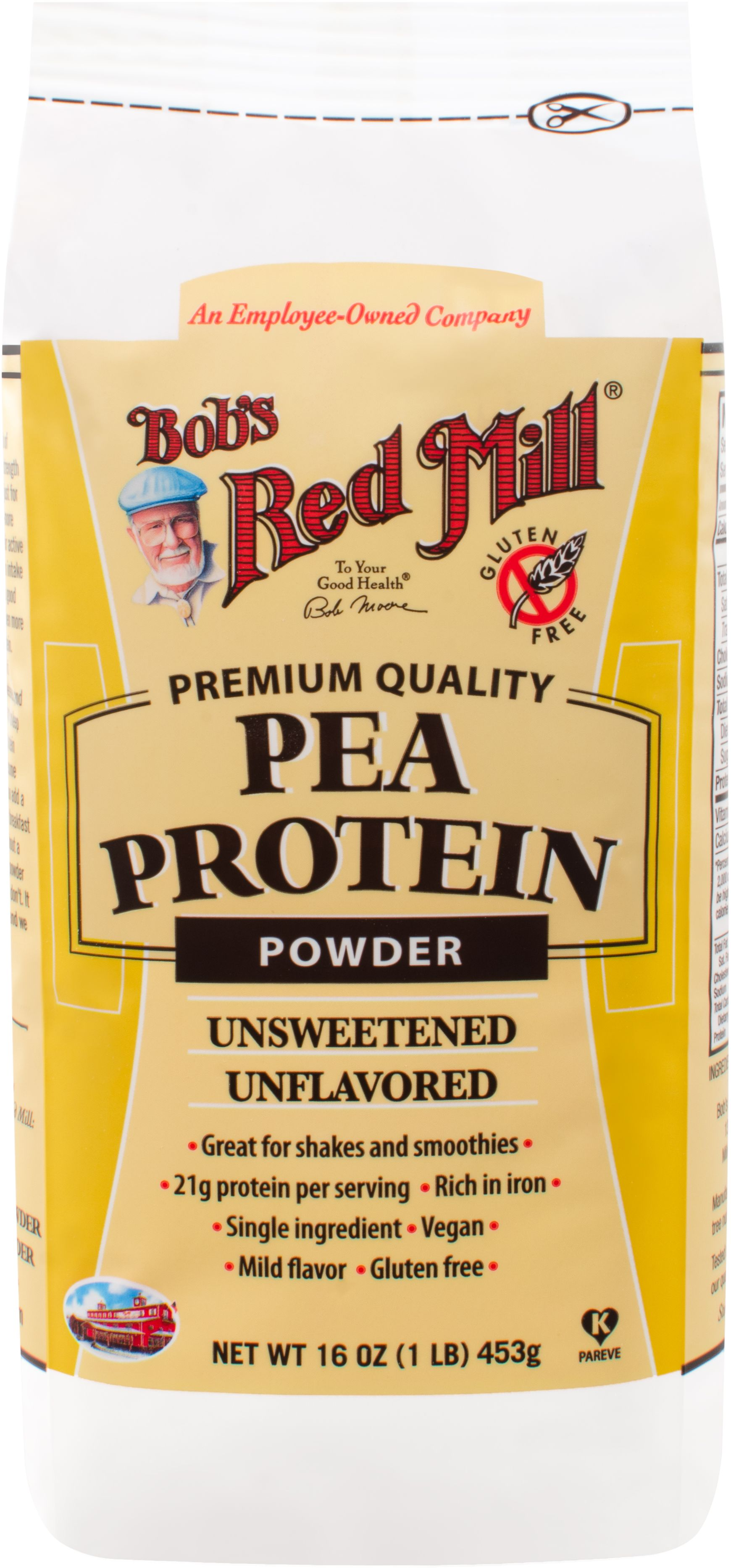 Bob's Red Mill Pea Protein Powder is made from raw yellow peas. The protein is isolated from the peas using a low-heat, water based process. Unlike many other pea protein powders, there are no chemical solvents used to make Bob's Red Mill Pea Protein Powder. Add pea protein powder to smoothies for a plant-based protein boost.