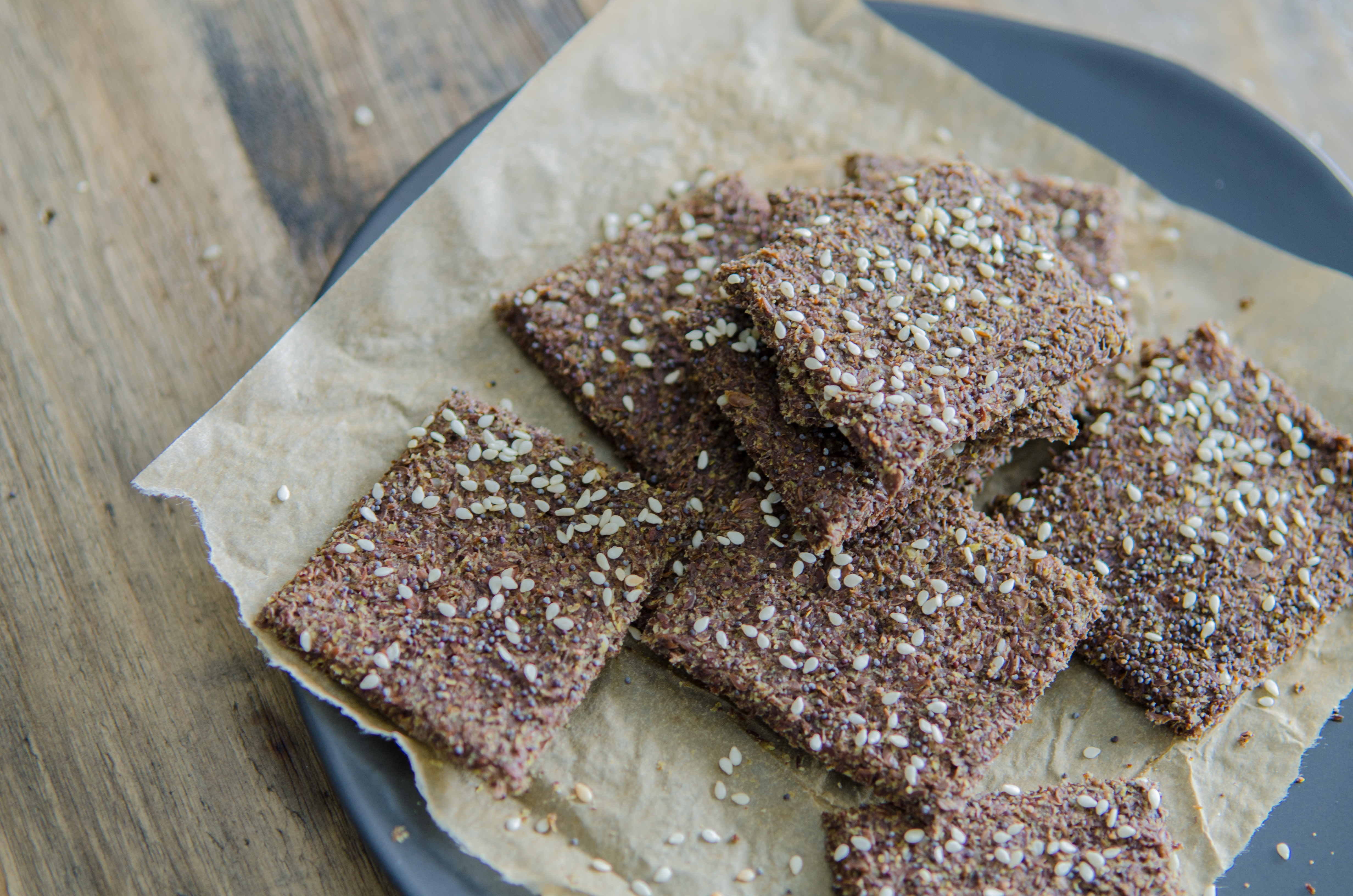 Everything Flax Crackers that meet almost all dietary needs- vegan, gluten free, paleo // Bob's Red Mill