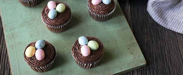 Chocolate Easter Cupcakes- are simple to make and even easier to enjoy! // @BobsRedMill @SavorySimple