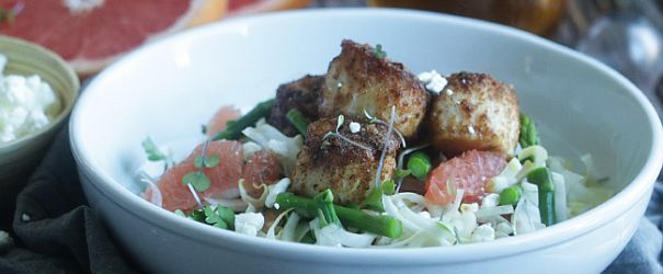 Almond Crusted Scallops and Spring Salad Recipe: With the red grapefruit, endive, shaved fennel, asparagus and hint of white wine vinegar, the salad in this dish screams spring! // @BobsRedMill @ChefBillyParisi