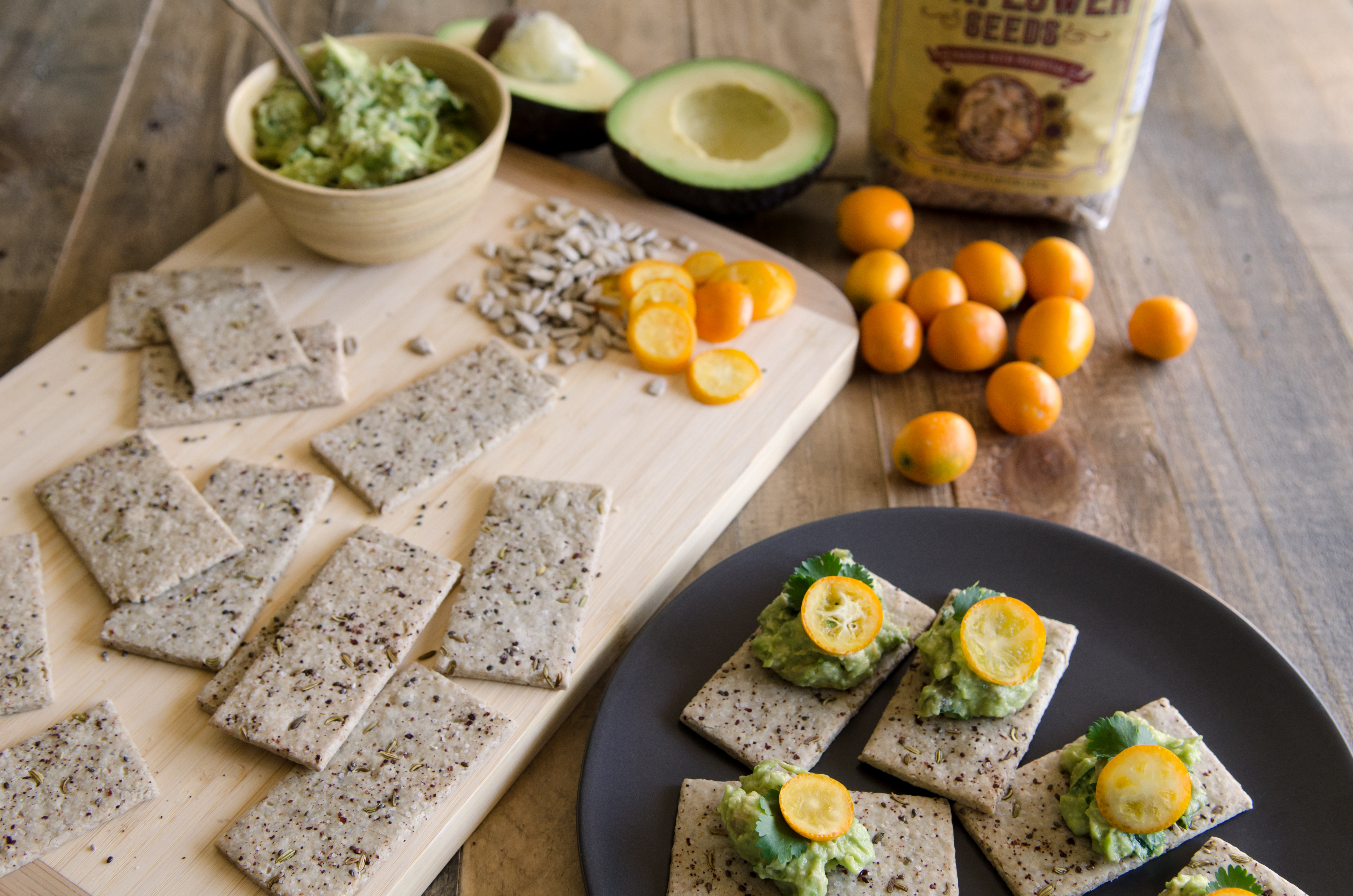 Sunflower Crackers-A healthy grain-free snack that pairs well with cheeses, dips or just on its own!  // @BobsRedMill // grain free, paleo friendly, vegan, gluten free
